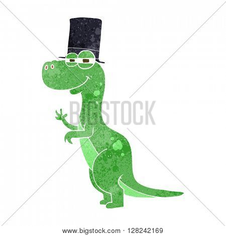 freehand retro cartoon dinosaur wearing top hat