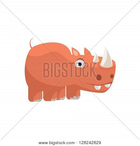 Rhino Funny Childish Cartoon Style Flat Vector Illustration In Bright Colors Isolated On White Background