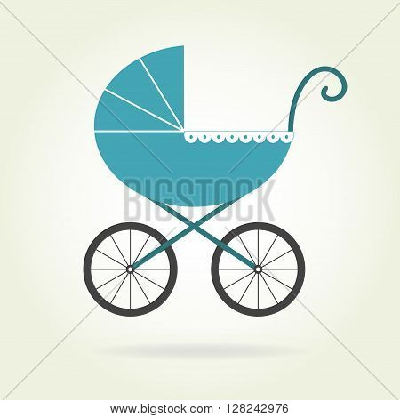 Pram icon or sign. Baby carriage in old style. Colorful vector illustration.