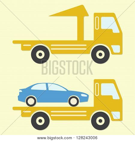 Tow truck or wrecker icon in flat design. Vehicle maintenance and repair. Colorful vector illustration.