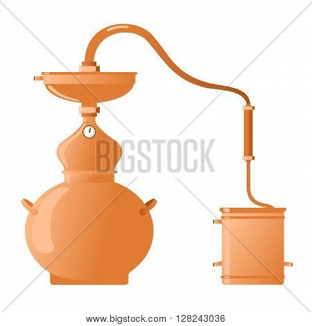 The distillation apparatus for the production of whiskey moonshine alcohol and vodka - Copper alambik. Vector flat Illustration. Isolated on a white background.