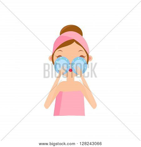 Girl Using Eye Patches Portrait Flat Cartoon Simple Illustration In Sweet Gitly Style Isolated On White Background