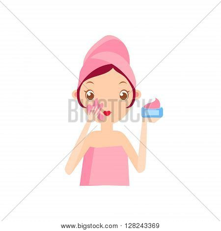 Girl Putting The Cream On Portrait Flat Cartoon Simple Illustration In Sweet Gitly Style Isolated On White Background