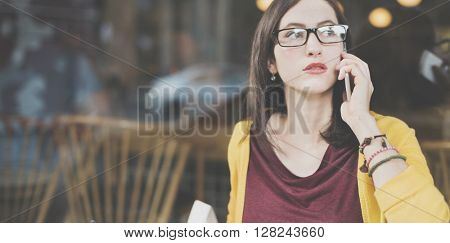 Beautiful Communication Leisure Lady Girl Chill Concept