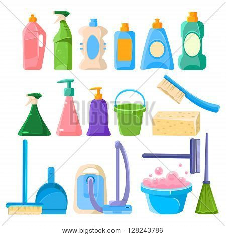 Household Cleaning Equipment Set Of Flat Isolated Vector Simplified Bright Color Design Icons On White Background