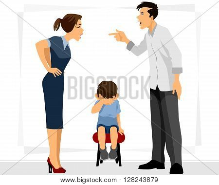 Vector illustration of a father and mother swears