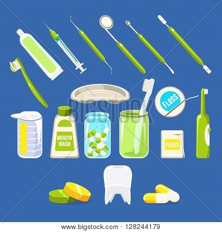 Dentistry Related Objects Set Of Flat Isolated Vector Simplified Bright Color Design Icons On Blue Background
