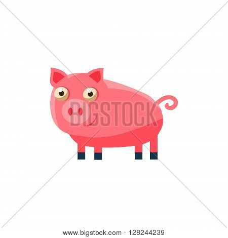 Pig Simplified Cute Illustration In Childish Flat Vector Design Isolated On White Background