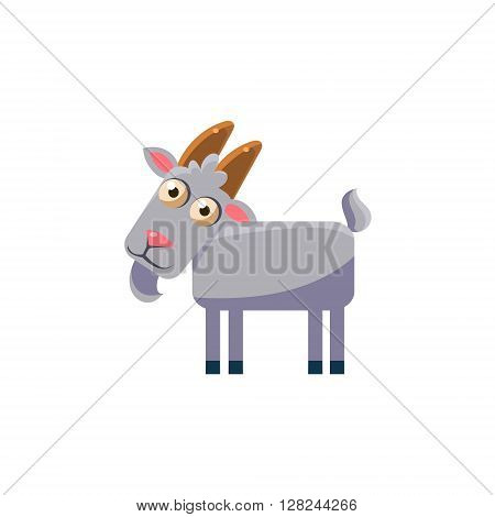 goat Simplified Cute Illustration In Childish Flat Vector Design Isolated On White Background