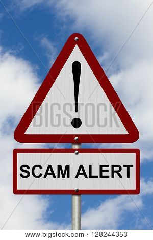 Warning Scam Alert Highway Road Sign Red and White Warning Highway Sign with words Scam Alert with sky background, 3D Illustration
