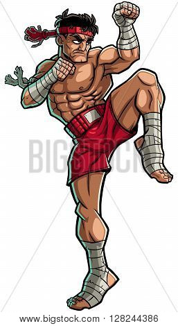 Illustration of Muay Thai fighter isolated on white background.