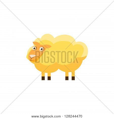 Sheep Simplified Cute Illustration In Childish Flat Vector Design Isolated On White Background