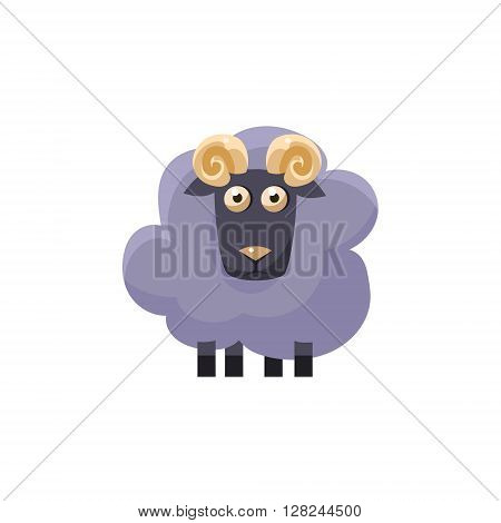 Male Sheep Simplified Cute Illustration In Childish Flat Vector Design Isolated On White Background