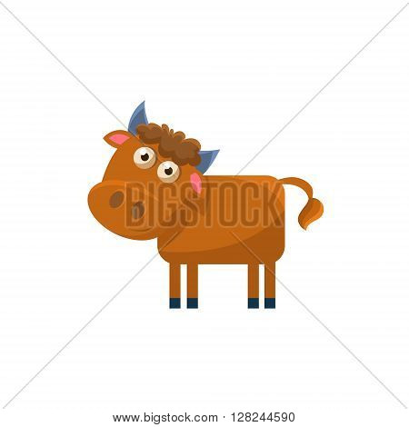 Bull Simplified Cute Illustration In Childish Flat Vector Design Isolated On White Background