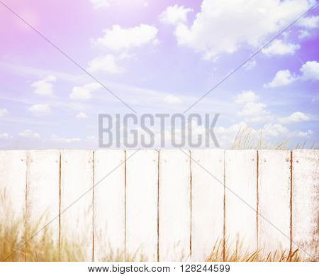 White Fence with Blue Sky Concept