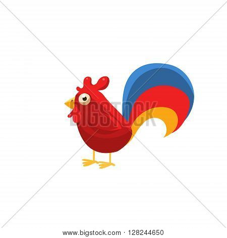 Rooster Simplified Cute Illustration In Childish Flat Vector Design Isolated On White Background