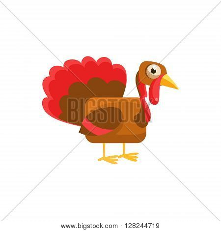 Turkey Simplified Cute Illustration In Childish Flat Vector Design Isolated On White Background