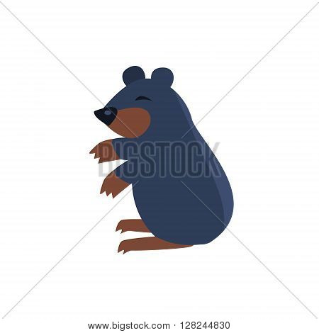 Sleeping Bear Simplified Cute Illustration In Childish Flat Vector Design Isolated On White Background