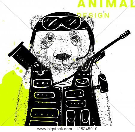 Hand Drawn Bear. Soldier with Bazooka and Gun. Vector Graphic Illustration.