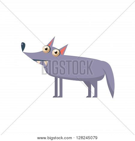 Wolf Simplified Cute Illustration In Childish Flat Vector Design Isolated On White Background