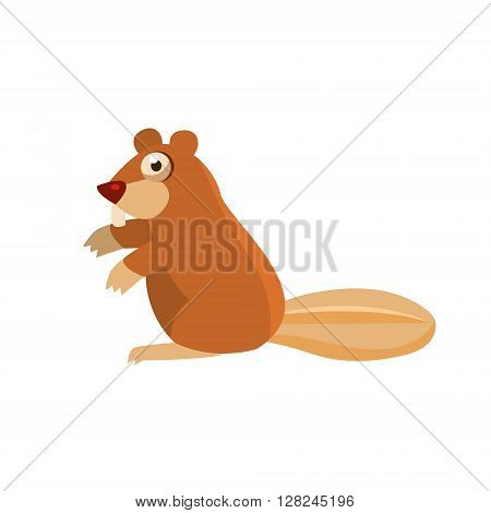 Beaver Simplified Cute Illustration In Childish Flat Vector Design Isolated On White Background