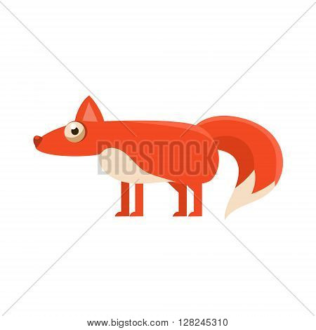 Fox Simplified Cute Illustration In Childish Flat Vector Design Isolated On White Background