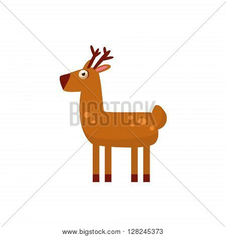 Deer Simplified Cute Illustration In Childish Flat Vector Design Isolated On White Background