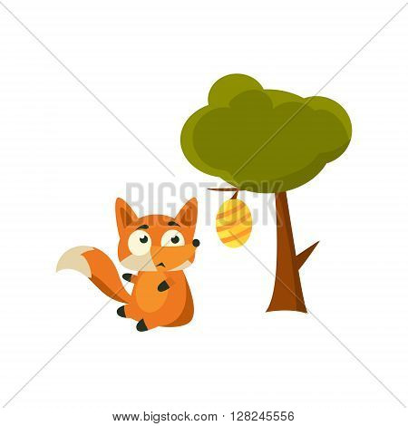 Fox And Beehive Adorable Cartoon Style Flat Vector Illustration Isolated On White Background