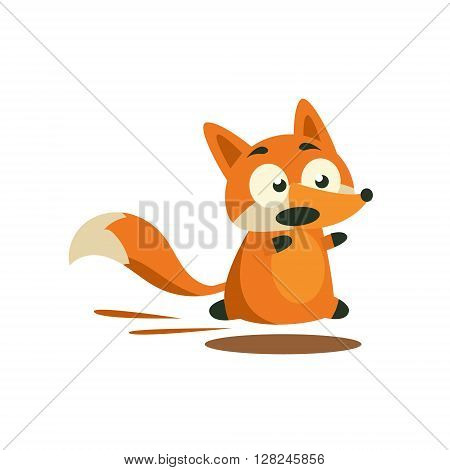 Fox Running Away Adorable Cartoon Style Flat Vector Illustration Isolated On White Background