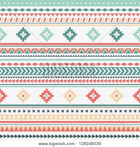 Eztec doodle pattern. Geometric borders. Colorful ethnic striped pattern. Wallpaper for pattern fills, web page