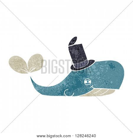 freehand retro cartoon whale wearing hat