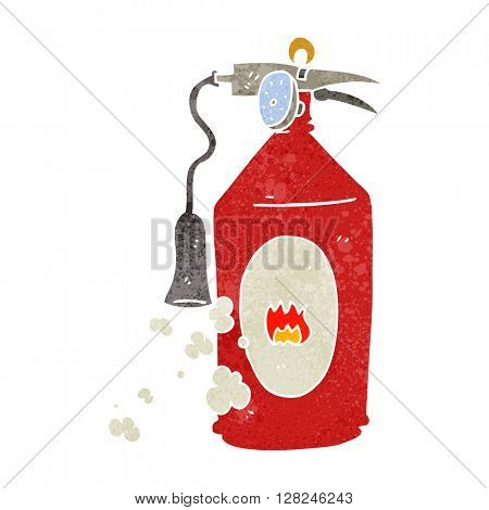 freehand retro cartoon fire extinguisher