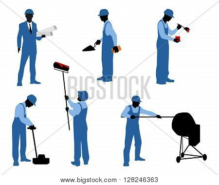Vector illustration of a six different workers