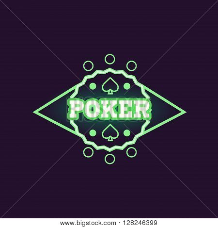 Round Green Poker Neon Sign Las Vegas Style Illumination Bright Color Vector Design Sticker