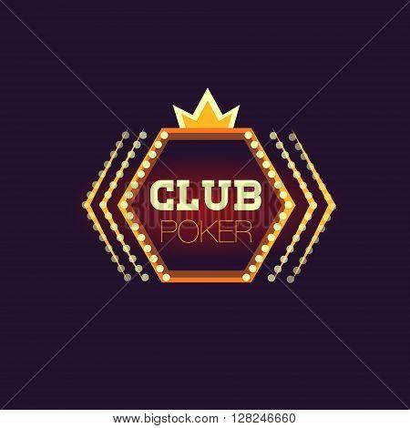 Crowned Poker Club Neon Sign Las Vegas Style Illumination Bright Color Vector Design Sticker