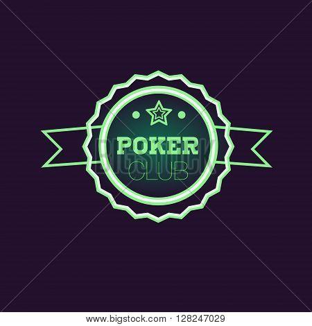 Doble Frame Green Poker Club Neon Sign Las Vegas Style Illumination Bright Color Vector Design Sticker