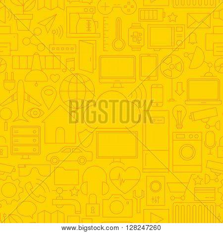 Thin Line Internet Of Things Seamless Yellow Pattern
