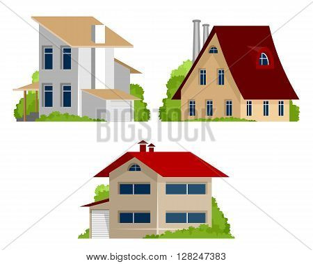Vector illustration of a three private houses