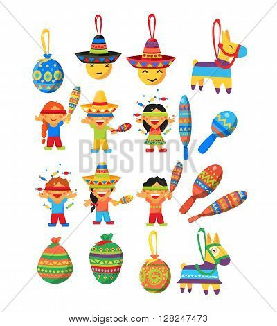 Mexican Trditional Fiesta Flat Childish Cartoon Style Drawn Colorful Elements Collection