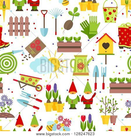 Seamless pattern from garden tools and decorative elements for a garden. A color rake, shovels, seeds, saplings, buckets, watering cans, garden gnomes and other gardening tools on  white background.