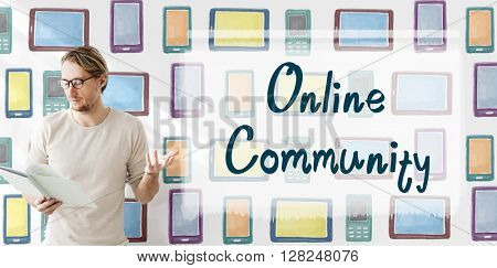 Online Community Connection Media Networking Concept