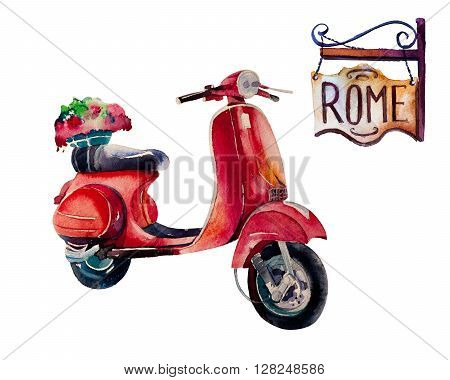 Watercolor Vintage Hippie travel scooter isolated on white background.