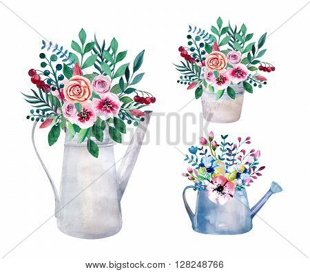 Set of watercolor bouquets . spring flowers in pot. Rustic outdoor floral set in shabby chic style. tulip lavander gardening country design. florist plant decoration. Isolated white.