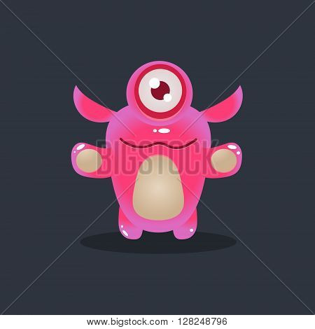 One-eyed Pink Alien Cute Childish Flat Vector Bright Color Drawing Isolated On Dark Background