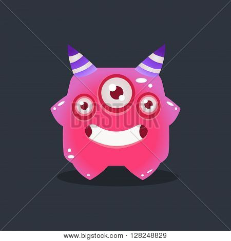 Pink Alien With Horns Cute Childish Flat Vector Bright Color Drawing Isolated On Dark Background