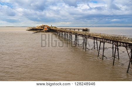 The long-derelict Birbeck Pier stretches out to the Bristol Channel at Weston-super-mare