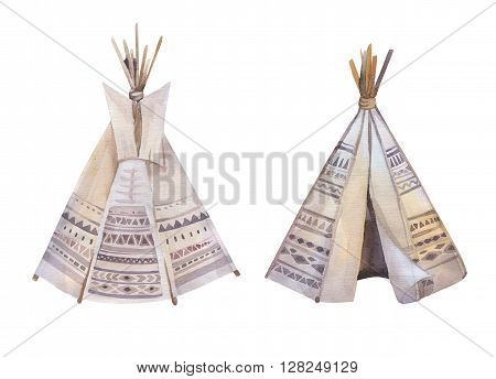 Watercolor teepee arrows fearhers and tomahawk. Boho america indians tribal style travel tent decoration. Tipi isolated illustration on white backgraund. children design. indian nebraska dakota.