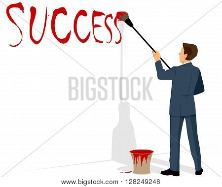 Vector illustration of a businessman painting success