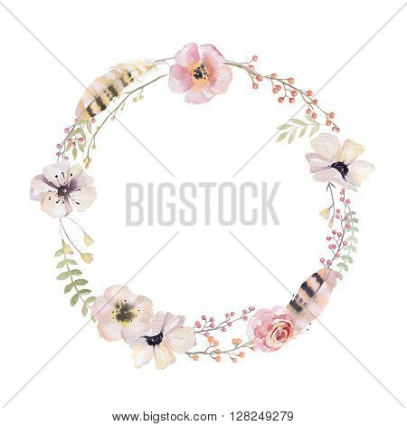 Watercolor floral wreath. Watercolour natural frame: leaves feathers flowers birds. Isolated on white background. Artistic decoration illustration. Save the date weddign design greeting card