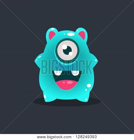 Blue Blob Alien Cute Childish Flat Vector Bright Color Drawing Isolated On Dark Background